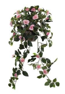 Künstliche Rosenranke lachsrosa in Topf