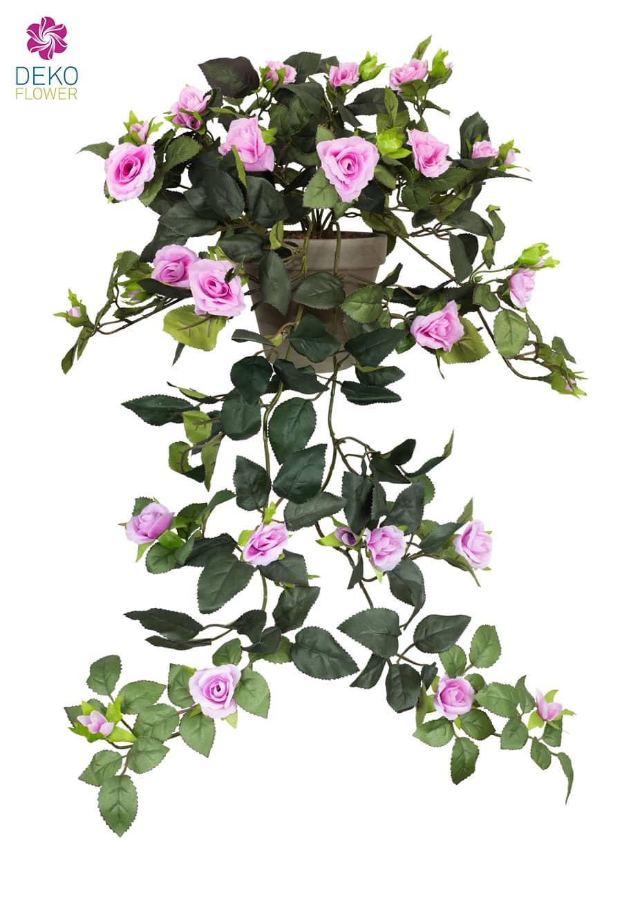 Künstliche Rosenranke im Topf lavendelpink