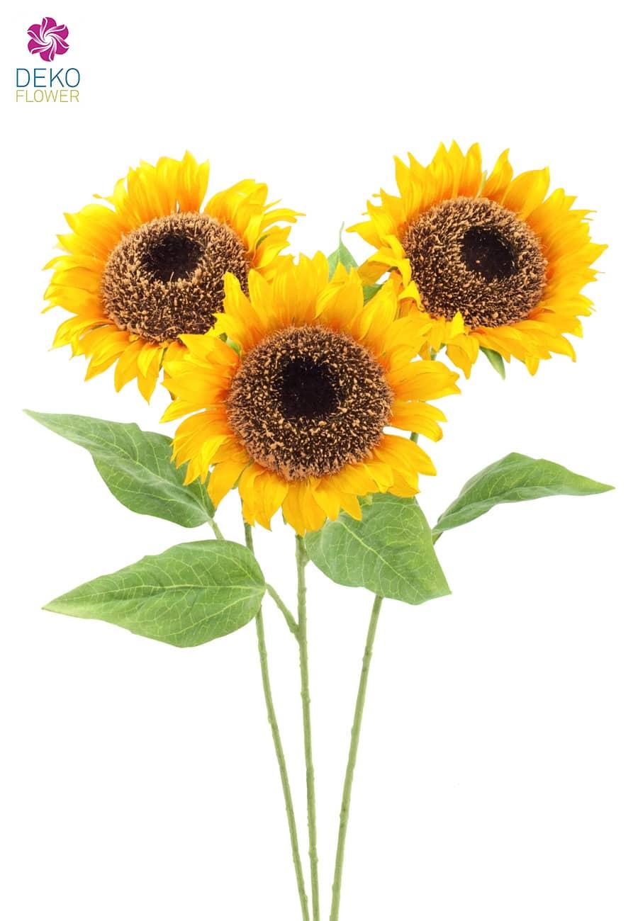 Künstliche Sonnenblumen 64 cm 3er Pack