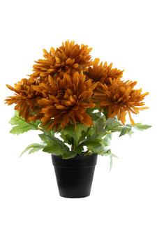 Künstliche Spinnen Chrysanthemen Pflanze orange 31 cm
