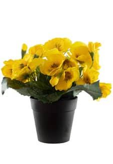 Künstliche Stiefmütterchen gelb 22 cm