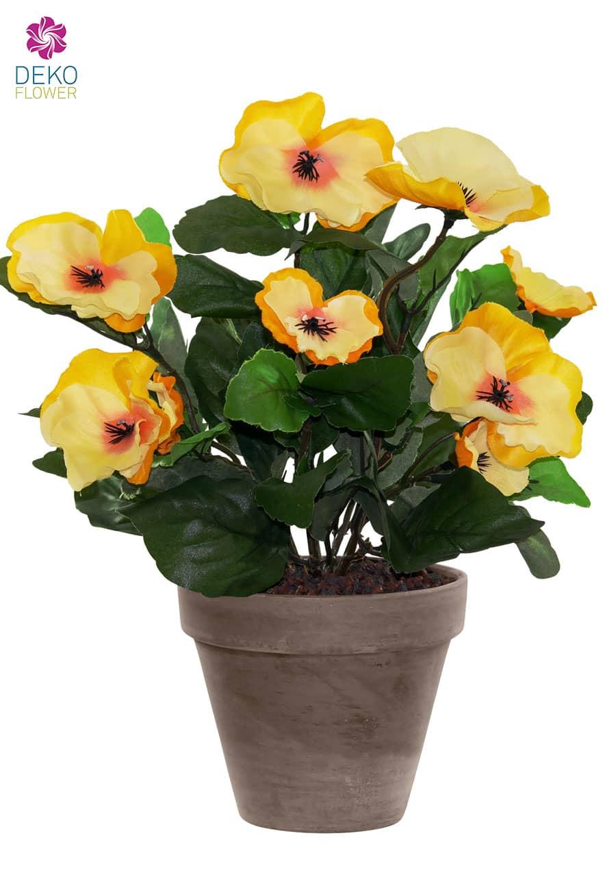 Künstliche Stiefmütterchen gelb 29 cm