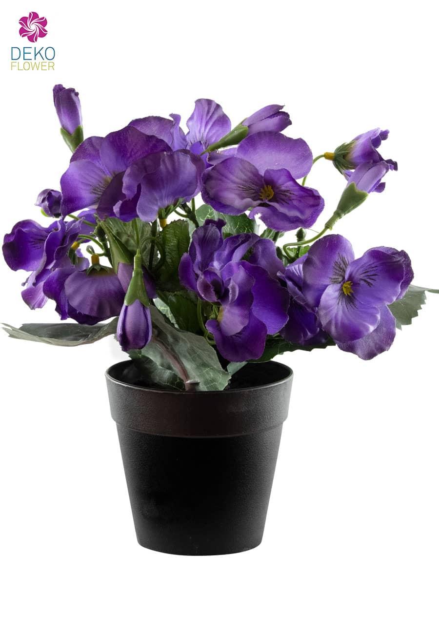 Künstliche Stiefmütterchen violett 22 cm