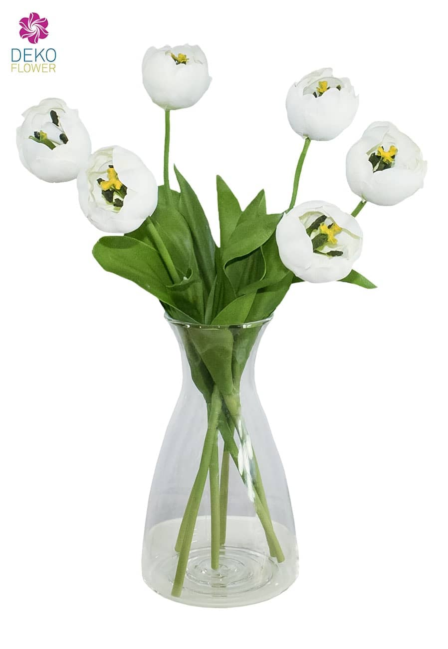 Kunstblumen Tulpen weiß 44 cm 6er Pack