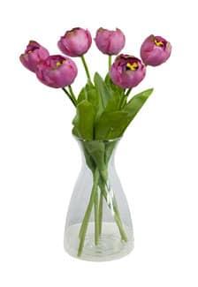 Kunstblumen Tulpen violett pink 44 cm 6er Pack