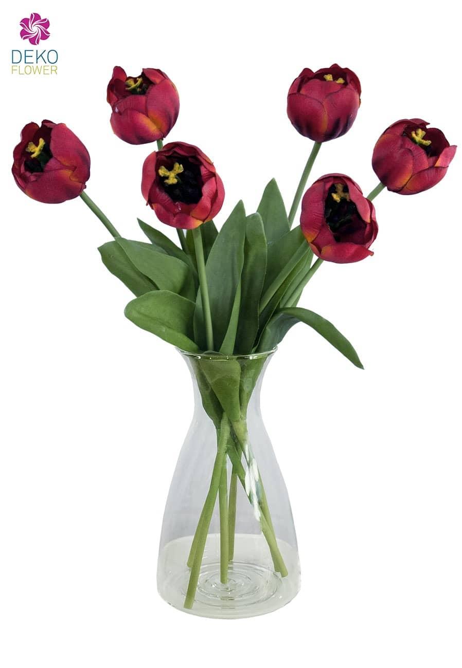 Kunstblumen Tulpen rot 44 cm 6er Pack