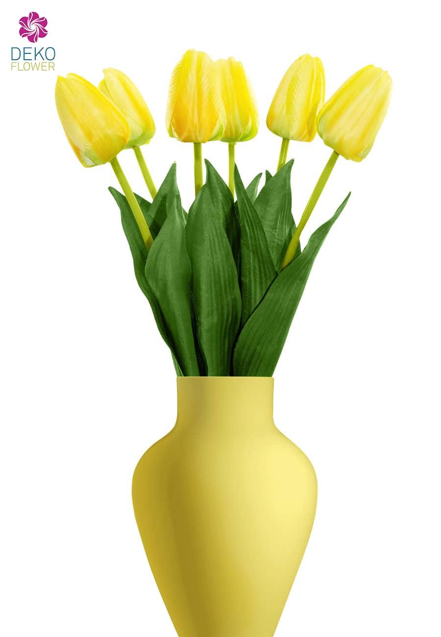 Künstliche Tulpen gelb 55 cm, Set á 6 Stück