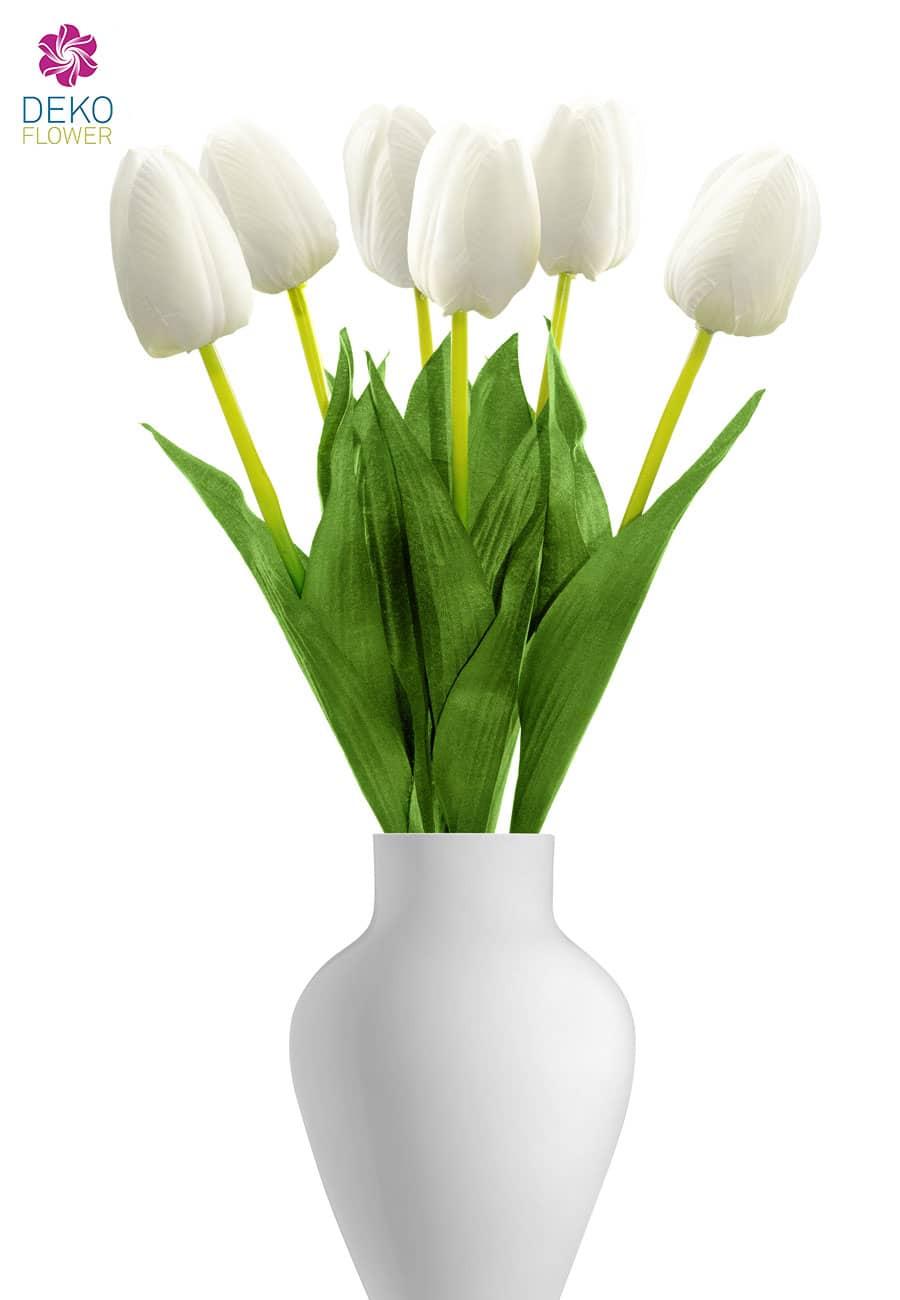 Künstliche Tulpen weiß 55 cm, 6er-Pack