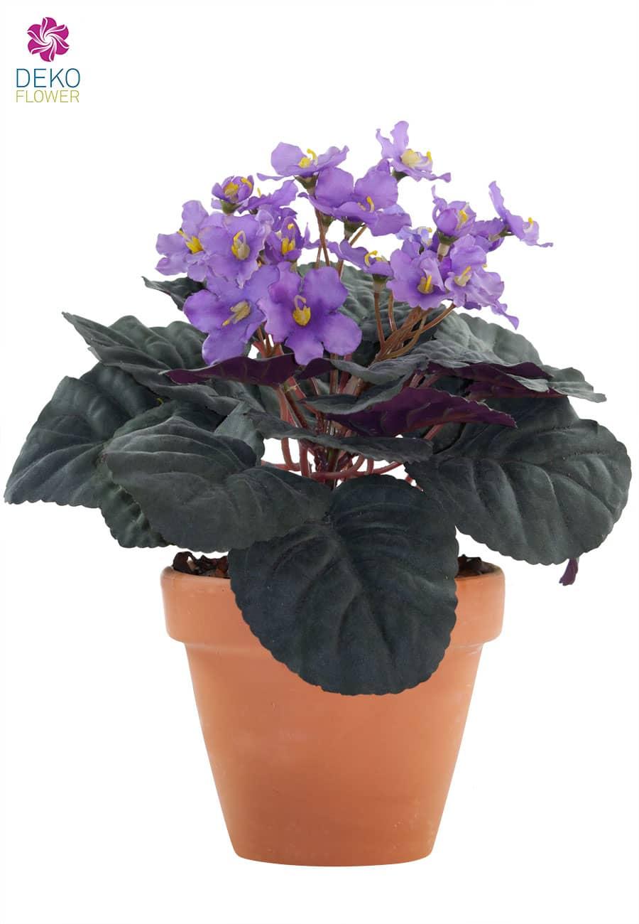 Künstliche Usambaraveilchen violett im Tontopf 24cm