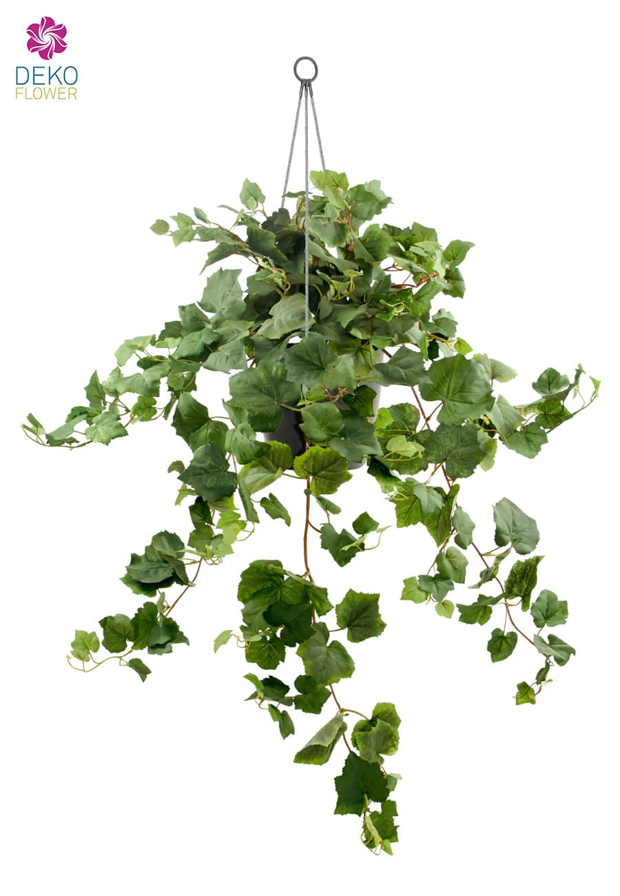 Künstliche Weinblatt Rankpflanze in Hängeampel 90 cm