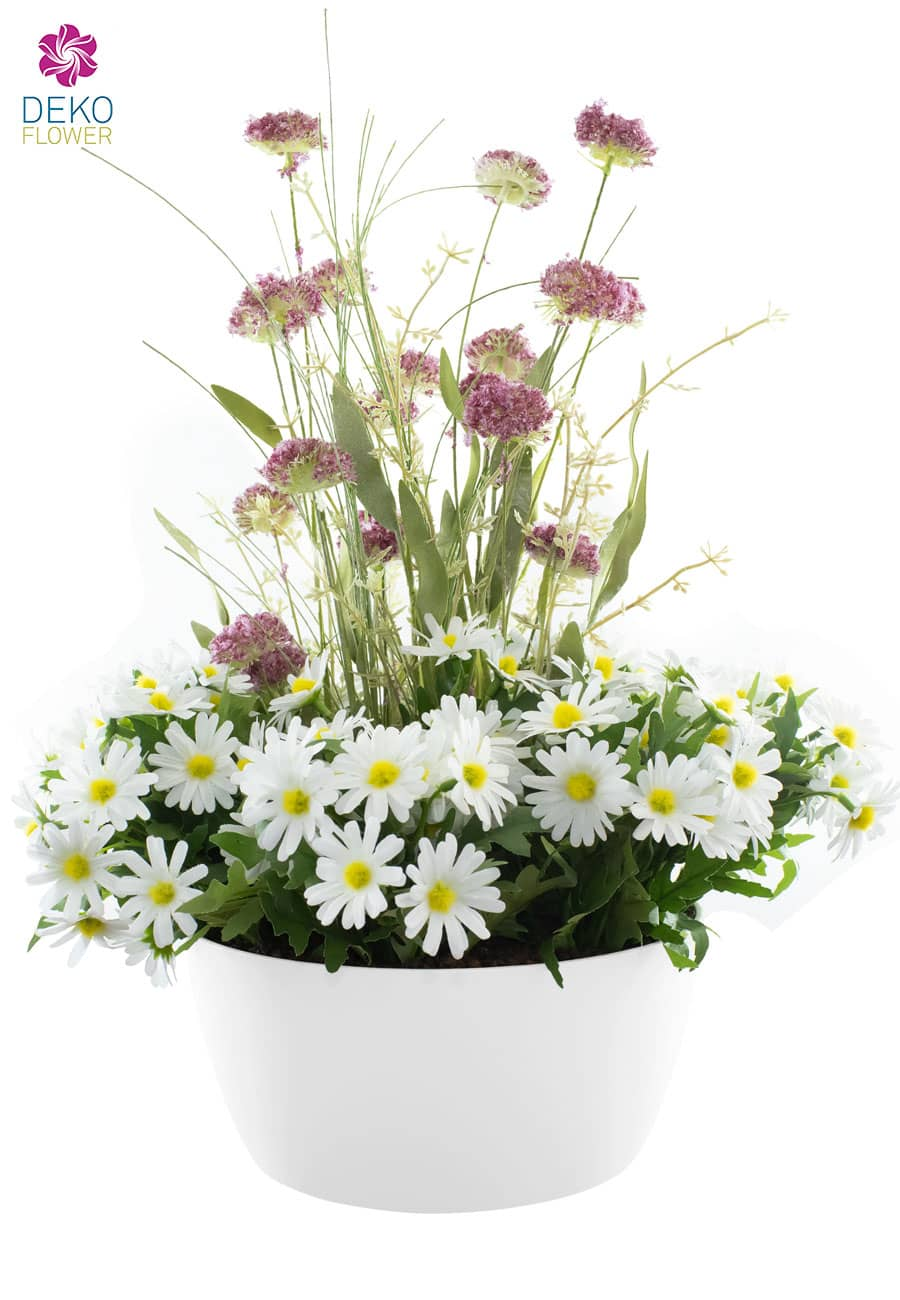 Künstliche Wiesenblumen in Schale 50 cm