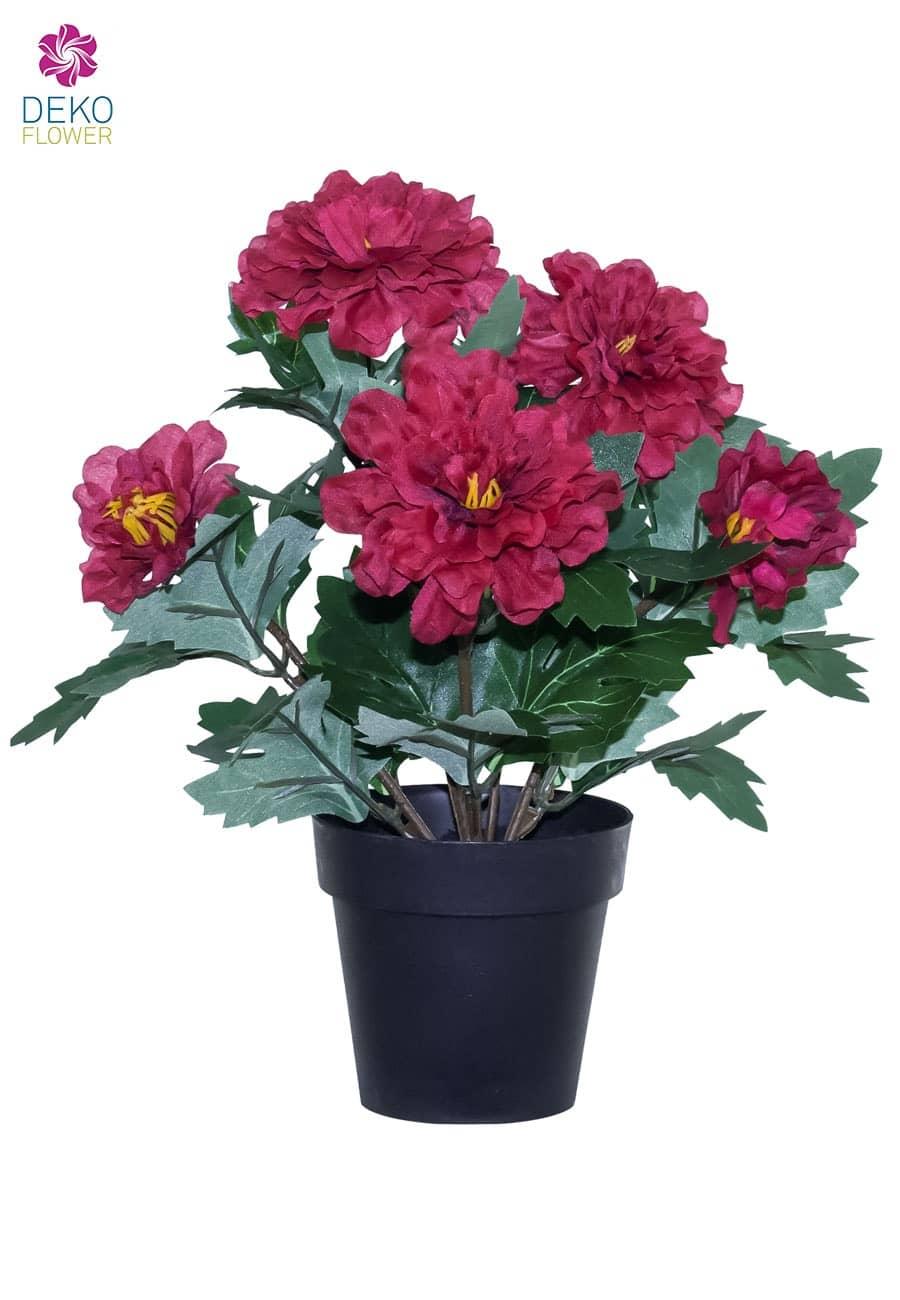 Künstliche Zinnien Topfblumen rot 29 cm