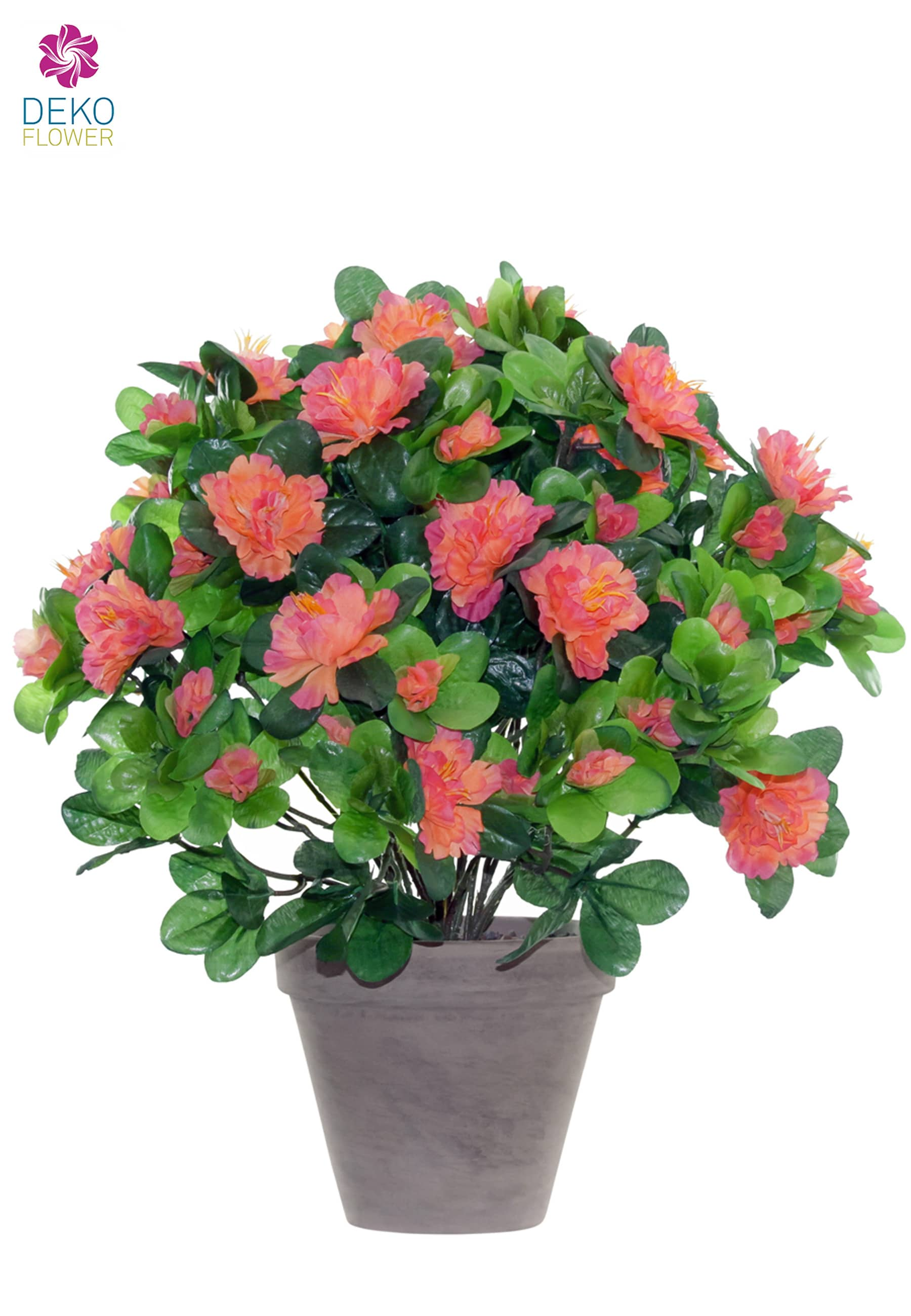 Azaleen Kunstblumen orange pink 37 cm im Topf