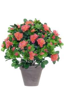 Künstliche Azaleen orange pink 37 cm im Topf