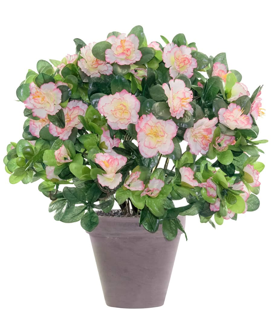 Azaleen Kunstblumen weiß rosa 37 cm im Topf