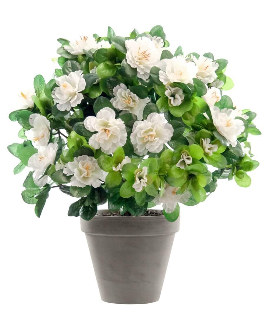 Azaleen Kunstblumen weiß 37 cm im Topf
