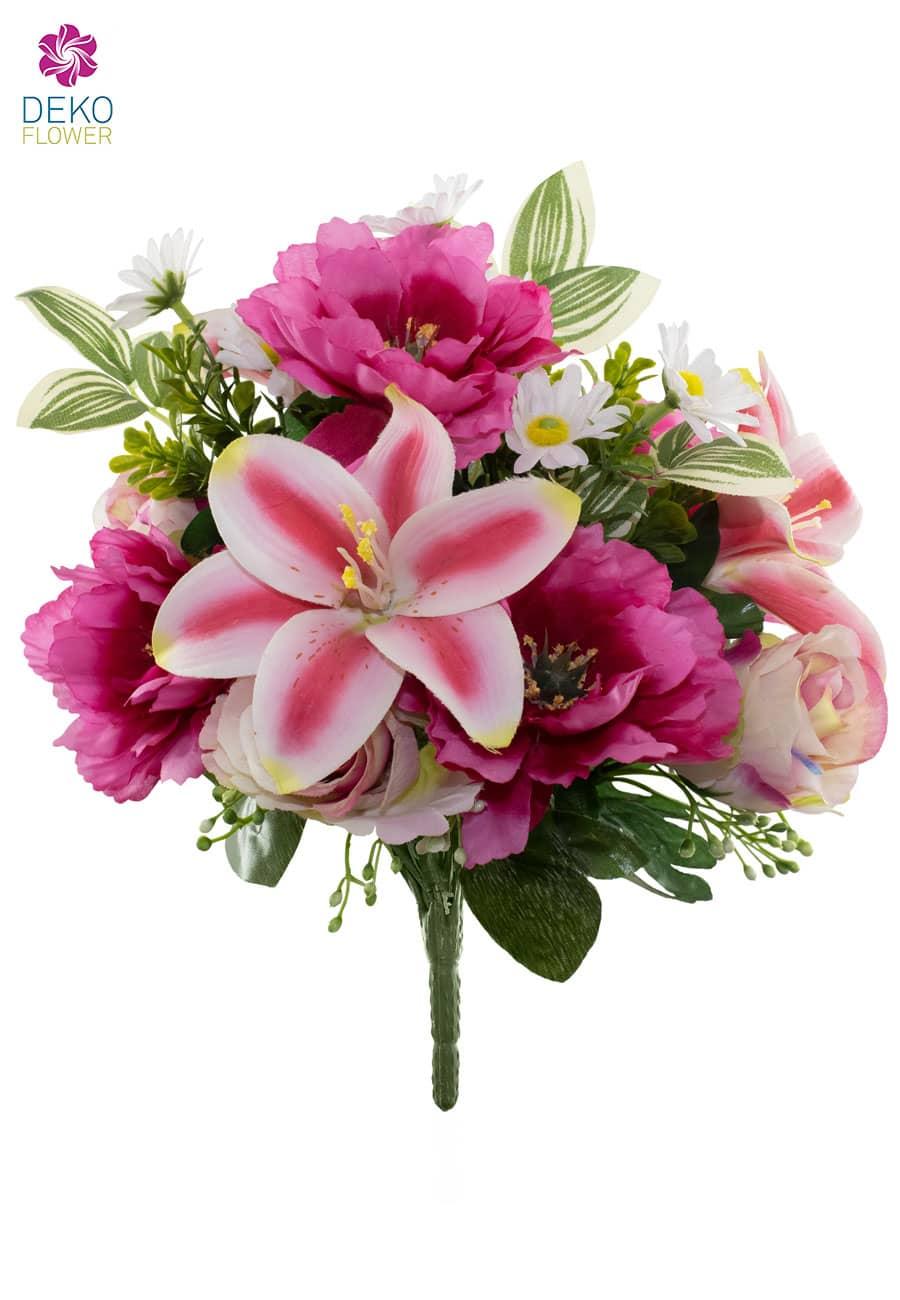 Künstlicher Blumenstrauß 34 cm magenta