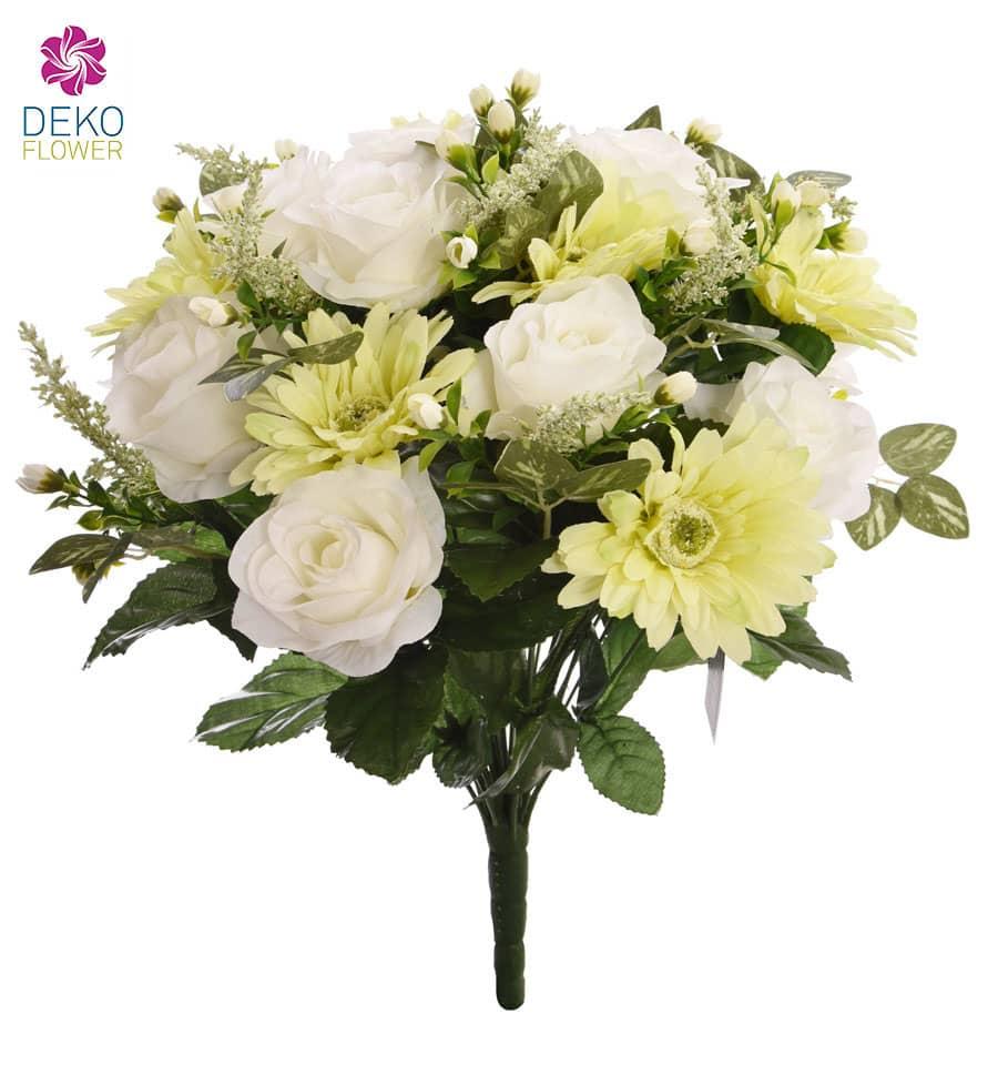 Künstlicher Blumenstrauß creme grün 42 cm