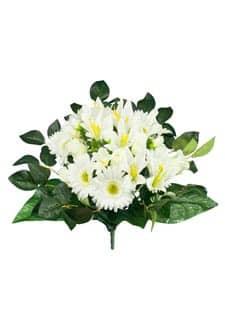 Kunststrauß aus Rosen, Gerbera und Lilien in creme 43cm