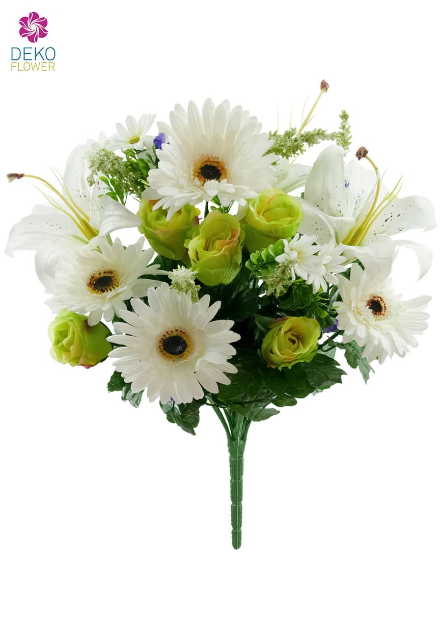 Kunststrauß aus Rosen, Gerbera und Lilien in creme 44 cm