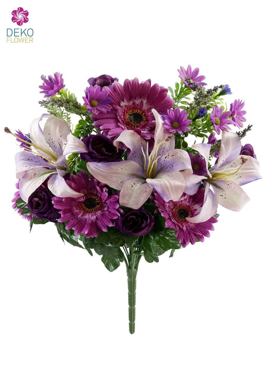 Kunststrauß aus Rosen, Gerbera und Lilien in lavendel 44cm