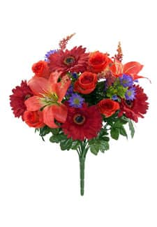 Kunststrauß aus Rosen, Gerbera und Lilien in orange-rot 44cm