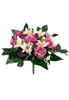 Kunststrauß aus Rosen, Gerbera und Lilien pink 43cm