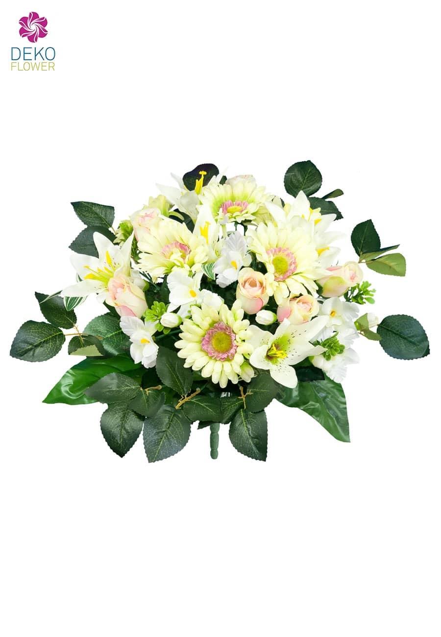 Strauß aus Rosen, Gerbera und Lilien in zart-grün 43cm
