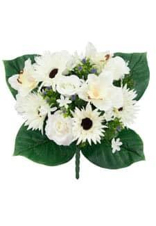 Kunststrauß aus Rosen, Gerbera und Orchideen in creme 38cm