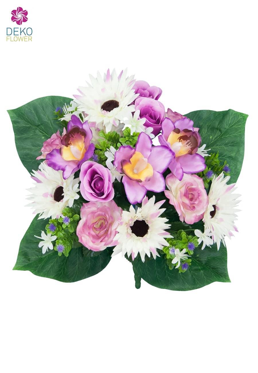 strau aus rosen gerbera und orchideen in lavendel 38cm. Black Bedroom Furniture Sets. Home Design Ideas