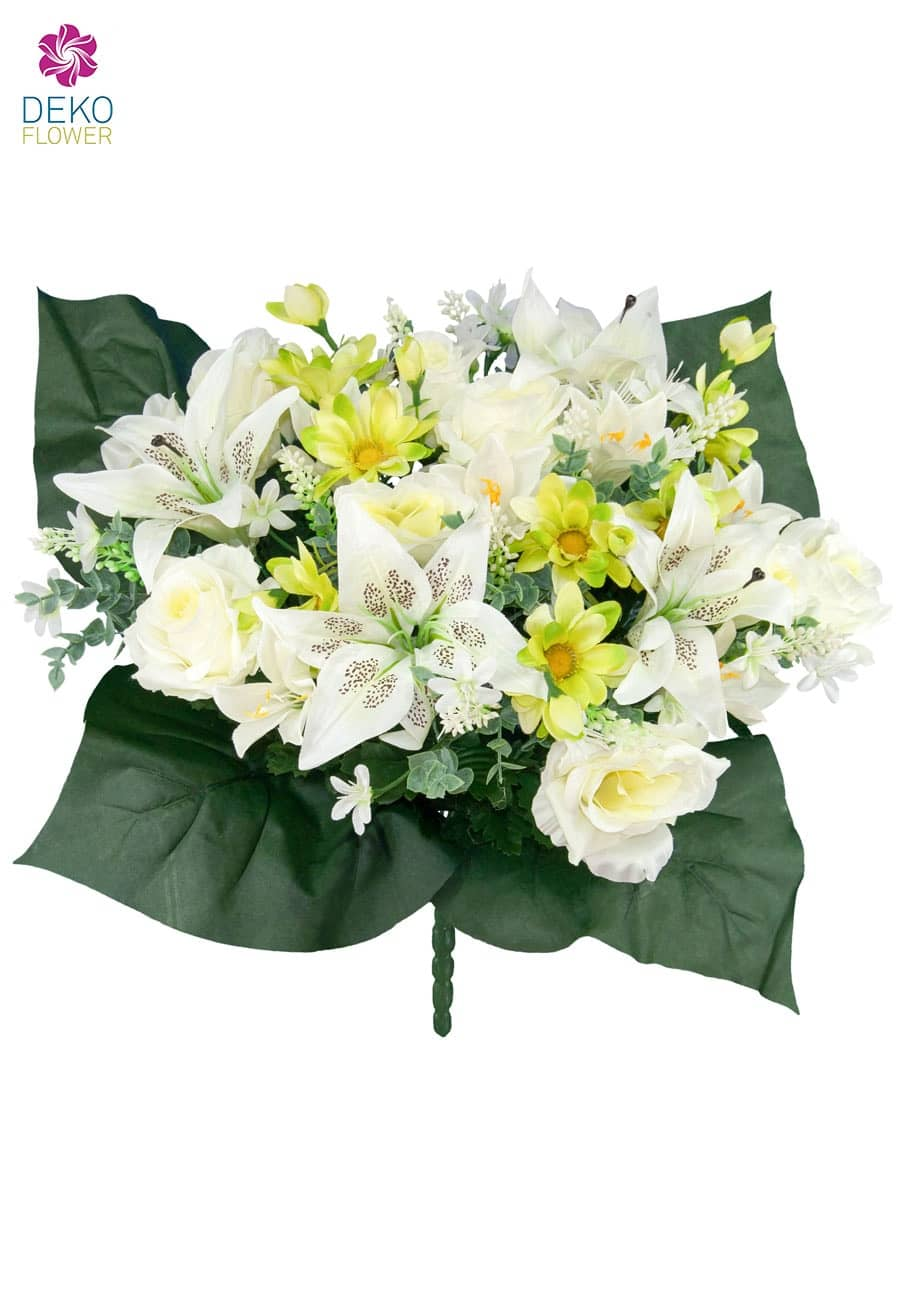 kunstblumenstrau mit rosen lilien und zinnien creme gr n. Black Bedroom Furniture Sets. Home Design Ideas