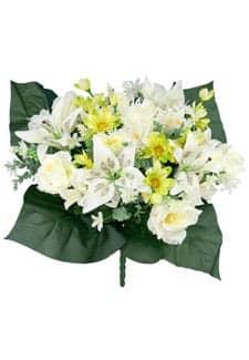 Kunstblumenstrauß mit Rosen, Lilien und Zinnien creme-grün 49cm