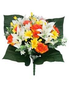 Kunstblumenstrauß mit Rosen, Lilien und Zinnien orange 49cm