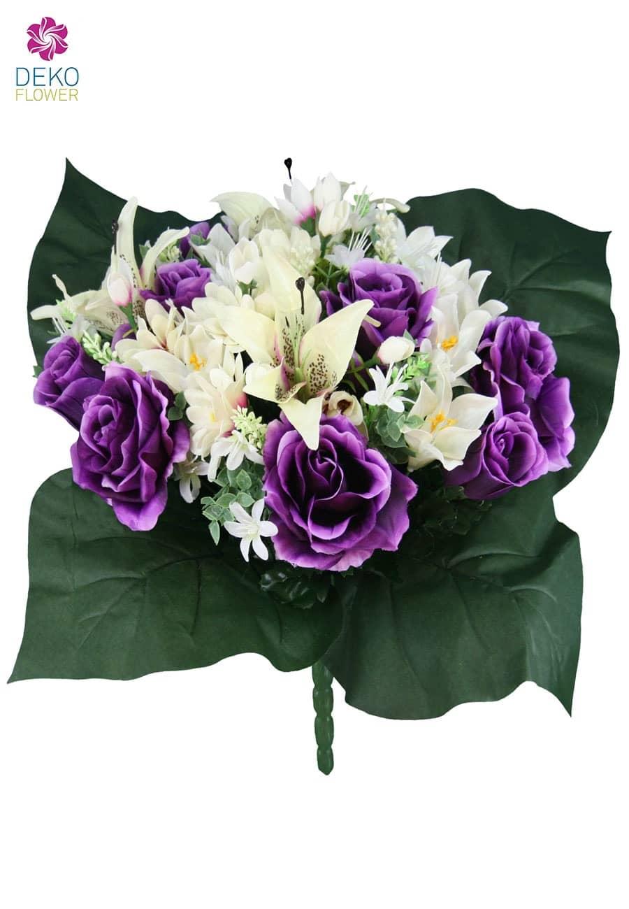 Kunstblumenstrauß mit Rosen, Lilien und Zinnien violett 49cm