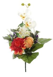 Kunststrauß aus Rosen, Orchideen und Zinnien apricot 38cm