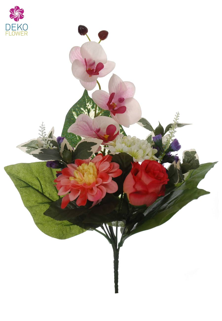 Kunststrauß aus Rosen, Orchideen und Zinnien korall 38cm