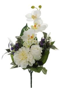 Kunststrauß aus Rosen, Orchideen und Zinnien creme-weiß 38cm