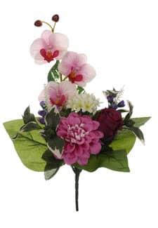 Kunststrauß aus Rosen, Orchideen und Zinnien pink 38cm