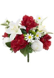 Künstlicher Blumenstrauß rot weiß 34 cm