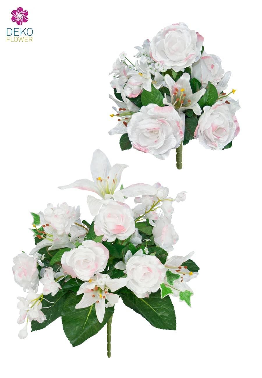 Bouquet mit weißen Kunstrosen 2er Set 25/37 cm