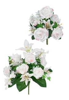 Großer und kleiner Kunstblumenstrauß mit weißen Rosen im 2er-Set