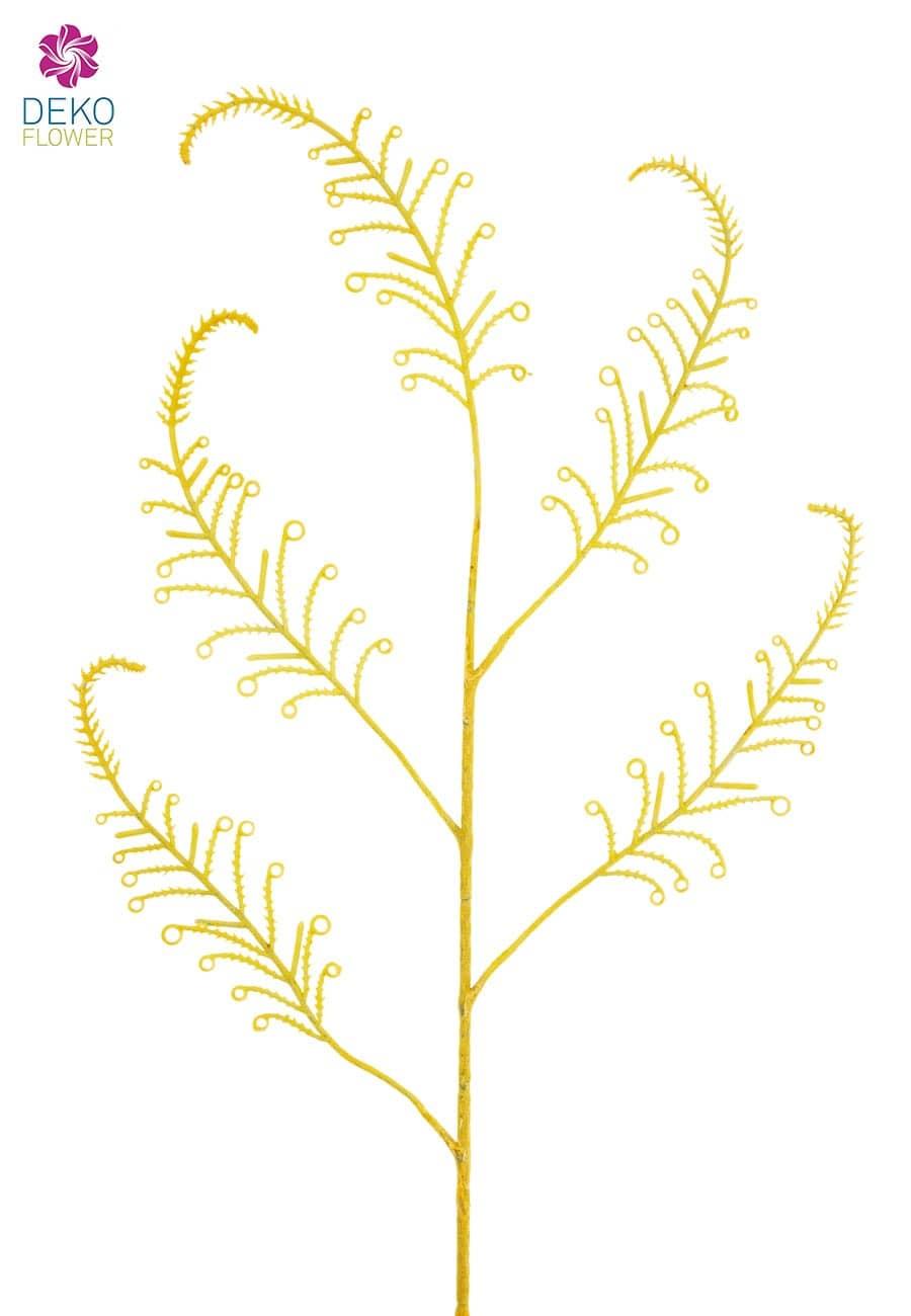 Künstlicher Farnzweig geflockt gelb 94 cm