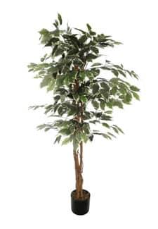 Künstlicher Ficus Benjamini grün weiß 125 cm