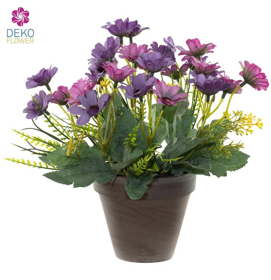 Künstlicher Margeritenbusch lila 27 cm