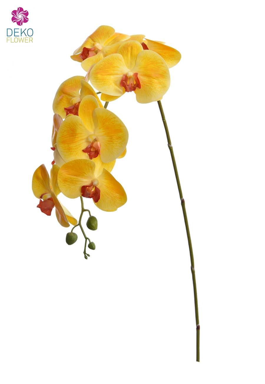 Künstlicher Orchideenzweig gelb 103 cm