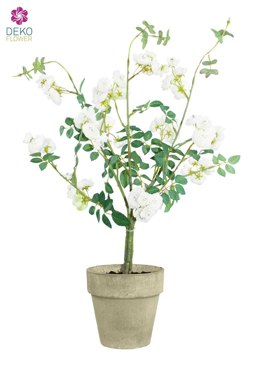 Künstlicher Wildrosenbusch weiß im Topf 60 cm