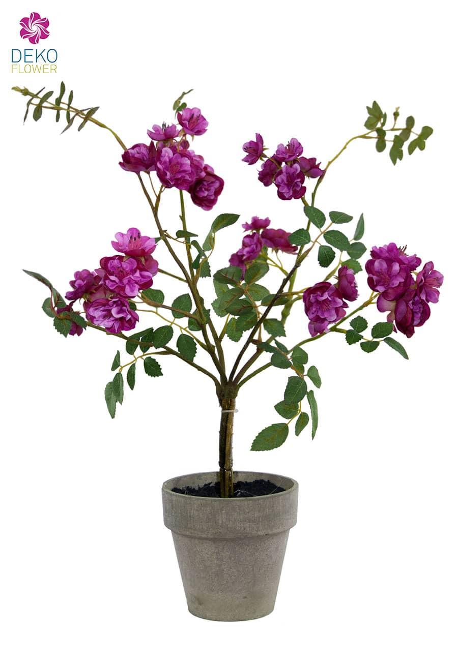 Künstlicher Rosenstrauch im Topf purpur 45 cm
