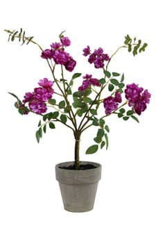 Strauch künstlicher Wildrosen im Topf purpur 45cm