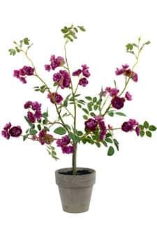 Strauch künstlicher Wildrosen im Topf purpur 60cm