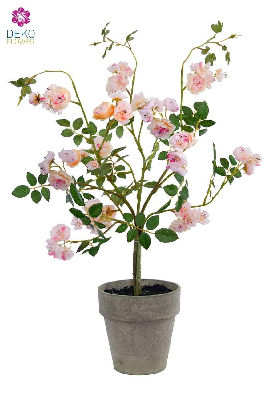 Künstliche Rosen im Topf rosa 60 cm